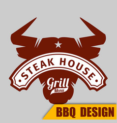 Bbq cow sign image vector