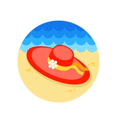 Beach hat icon Summer Vacation vector image