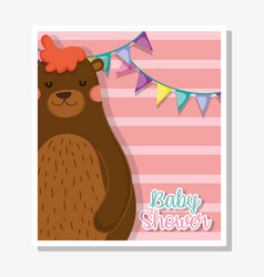 Bear with party banner to celebrate baby shower vector