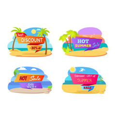 best discount promotional stickers with palms set vector image