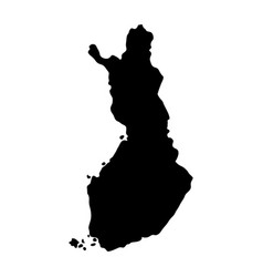black silhouette country borders map of finland vector image