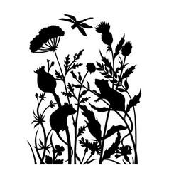 Black wildflowers silhouette nature scene mice vector