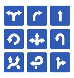Blue Signs with Arrows Set vector image