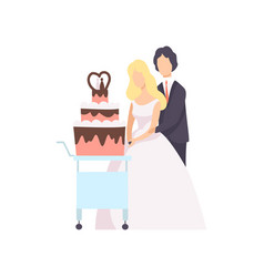 bride and groom cutting wedding cake at ceremony vector image