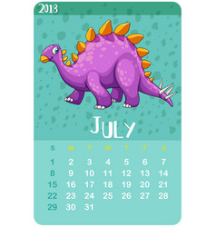 Calender template for july with stegosaurus vector