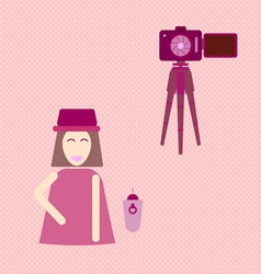 Camera shooting portrait yourself concept vector