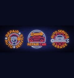 car service repairs a set of logos a neon vector image