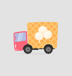 cartoon delivery ice cream truck vector image