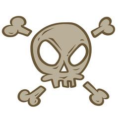 cartoon evil skull with crossed bones vector image