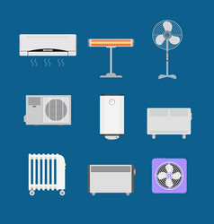 Cartoon heating devices color icons set vector