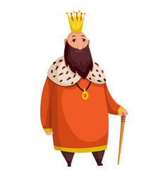 cartoon king wearing crown and mantle fat king vector image