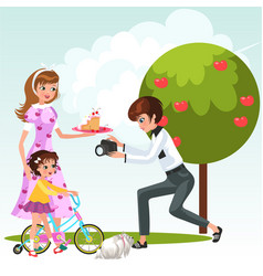 cartoon ladies with little child on bicycle vector image