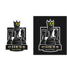 Chess game emblem logo vector