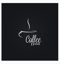 coffee cup logo coffee house sign on black vector image