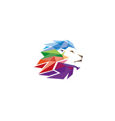 colorful creative geometric lion head logo symbol vector image