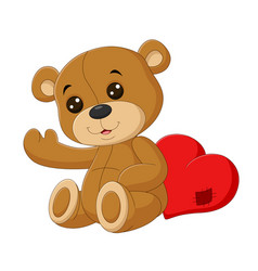 cute teddy bear with red heart vector image