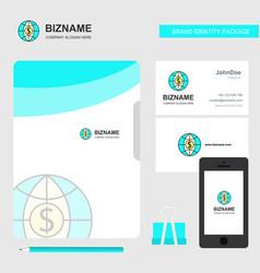 dollar globe business logo file cover visiting vector image
