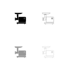 electric meat mincer black and grey set icon vector image