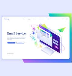 Email service isometric landing letter envelope vector