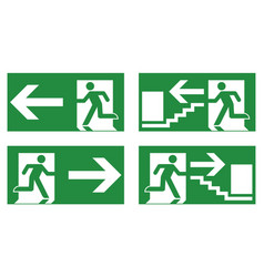 Emergency exit safety sign white running man icon vector