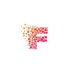f particle letter logo icon design vector image