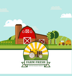 Farm product label flat vector