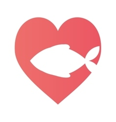 fish heart food cat pet vector image