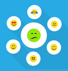 flat icon emoji set of love frown smile and vector image
