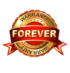 Forever warranty golden label with ribbon vector