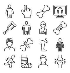 fracture bone icons set on white background vector image