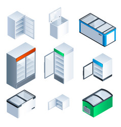 Freezer icon set isometric style vector