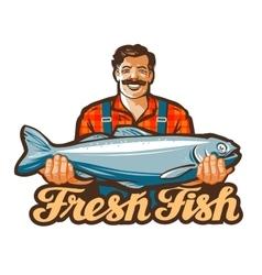 Fresh fish logo fishing angling or vector