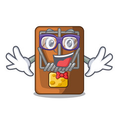 Geek mousetrap in the shape mascot wood vector