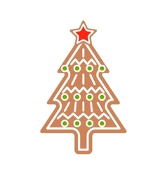 Gingerbread Christmas tree cookie vector