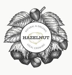 Hand drawn sketch hazelnut design template vector