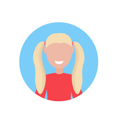 Happy blonde girl face avatar little child female vector