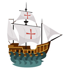 Happy columbus day poster with sailing ship vector