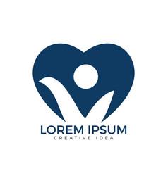 Happy human heart shape logo design vector
