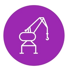 Harbor crane line icon vector