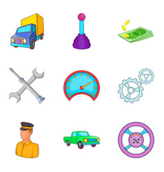 Hauler icons set cartoon style vector