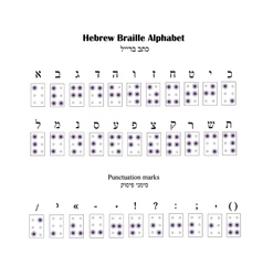 Hebrew Alphabet Braille The font for blind people vector