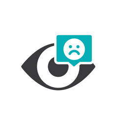 human eye with sad face in chat bubble colored vector image