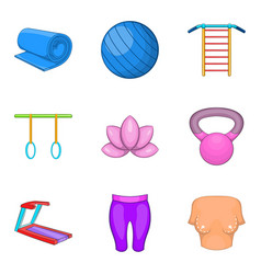 Ideal proportion icons set cartoon style vector