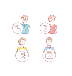 interview report and checkbox icons mail sign vector image