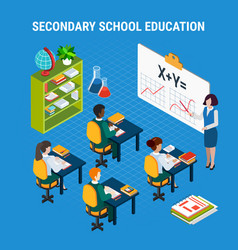 isometric education concept vector image