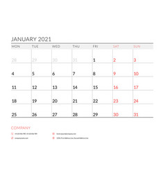 January 2021 monthly calendar planner printable vector