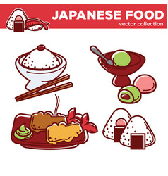 japanese food collection with main courses vector image