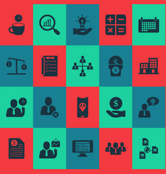 Job icons set with team structure team time vector