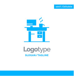 job laptop office working blue solid logo vector image