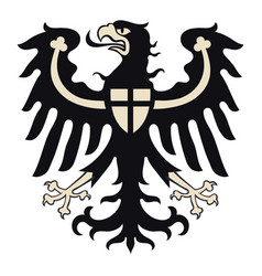 Knightly design shield with heraldic eagle vector